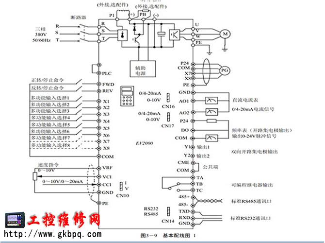 艾默生ev2000系列变频器端子接线图
